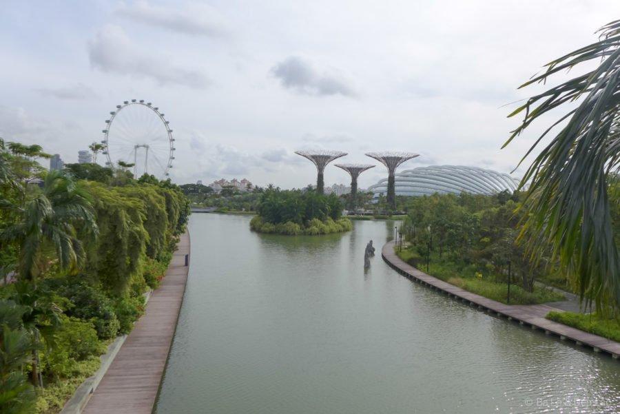 Một góc Gardens By The Bay, xa xa là Flower Dome