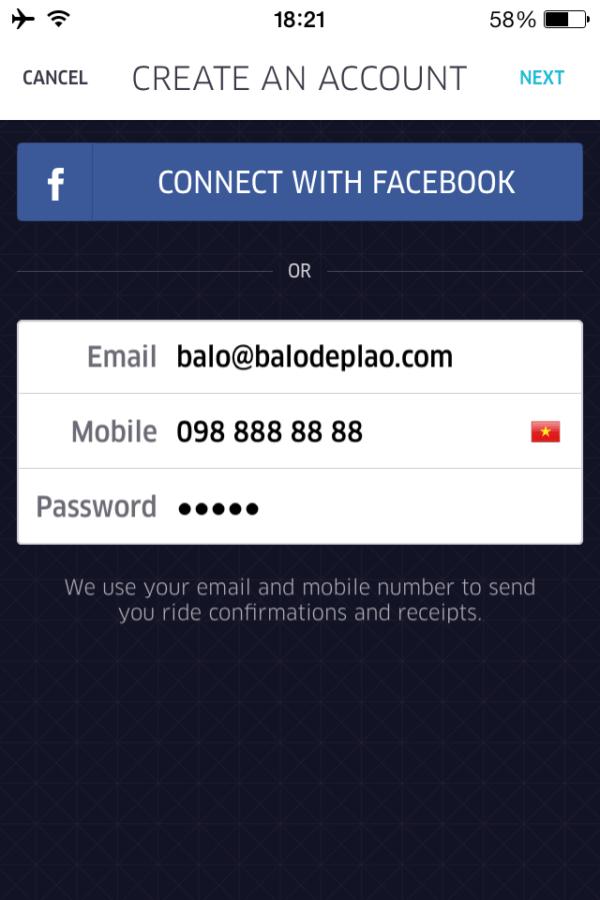 Cung cấp email, số điện thoại và password để đăng ký tài khoản UBER