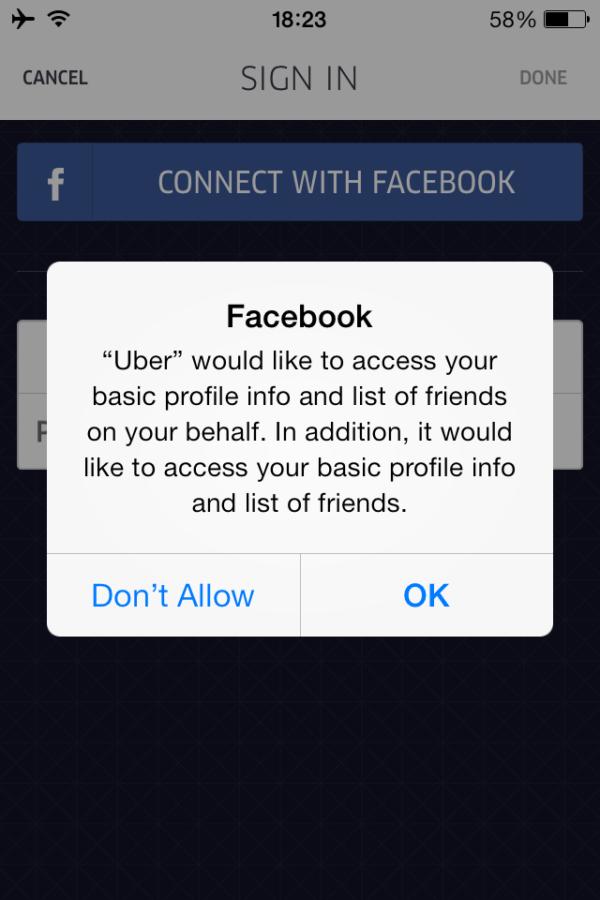 Sử dụng nút CONNECT WITH FACEBOOK để đăng ký UBER nhanh gọn lẹ