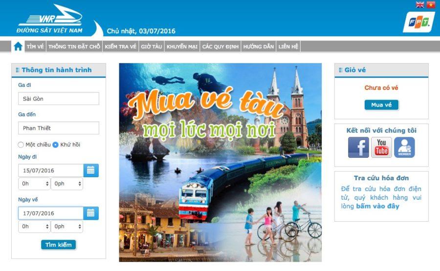 Giao diện trang web vetau.com.vn